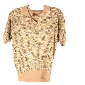 Missoni Brown Polo Knit Shirt Large Short Sleeve